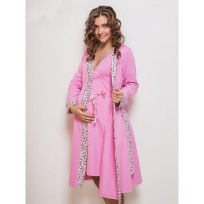 """Комплект """"Monika"""" розовый (халат+Ночная сорочка) для беременных и кормящих"""