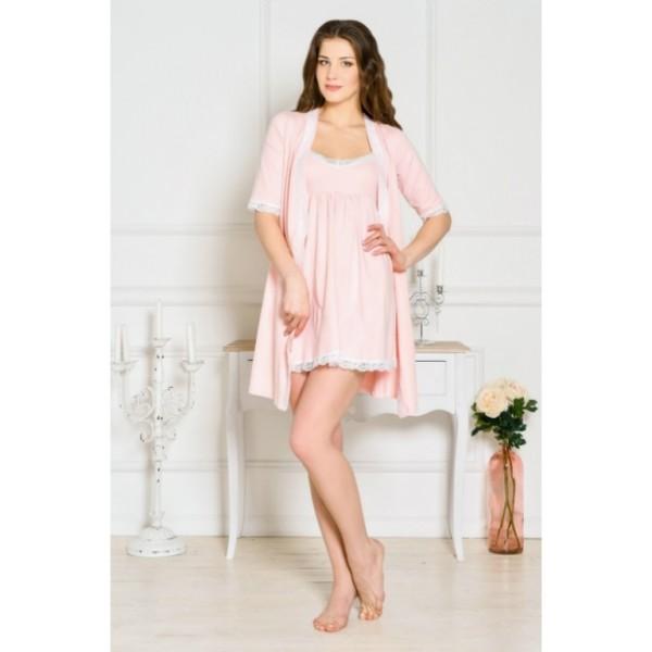 """Комплект """"Grace"""" розовый (халат+Ночная сорочка) для дома и роддома"""