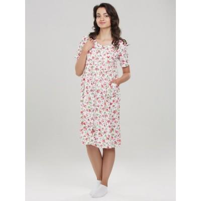 Халат из поплина Lana Розы на белом для беременных