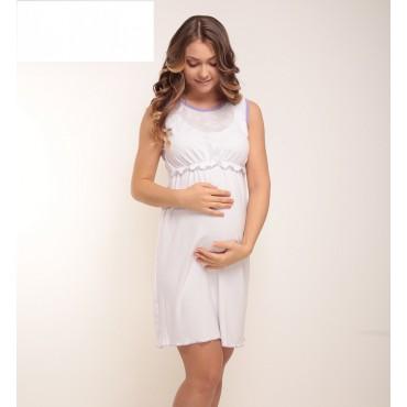 """Ночная сорочка """"Nika"""" Белая с салатовой окантовкой для беременных и кормящих"""