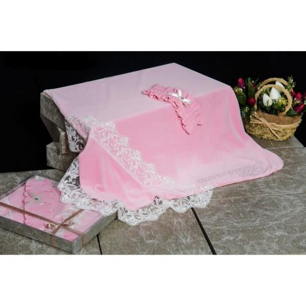 Плед велюр на подкладе розовый 90*90