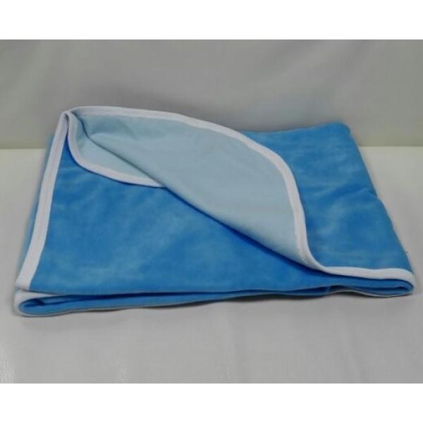 Плед велюр на подкладе голубой 90*90
