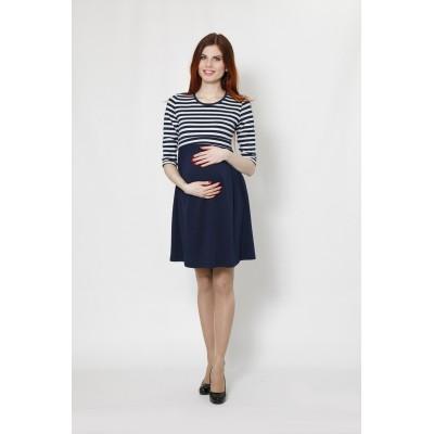 """Платье """"ТТ5045"""" т.синий.полоска для беременных и кормящих"""