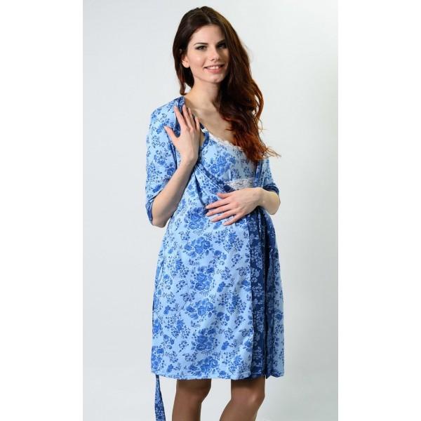 """Комплект """"мм266"""" синие цветы (халат+сорочка)"""