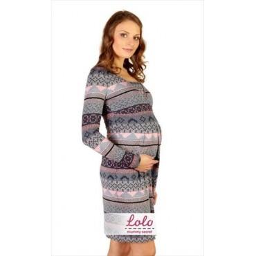"""Платье """"Dr 014.1"""" Елочка сине-серое для беременных и кормящих"""