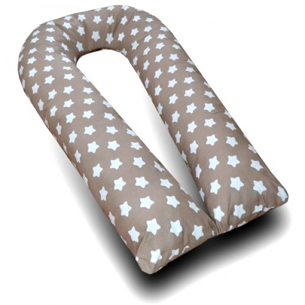 Большая подушка для беременных бежевая/крупные белые звезды