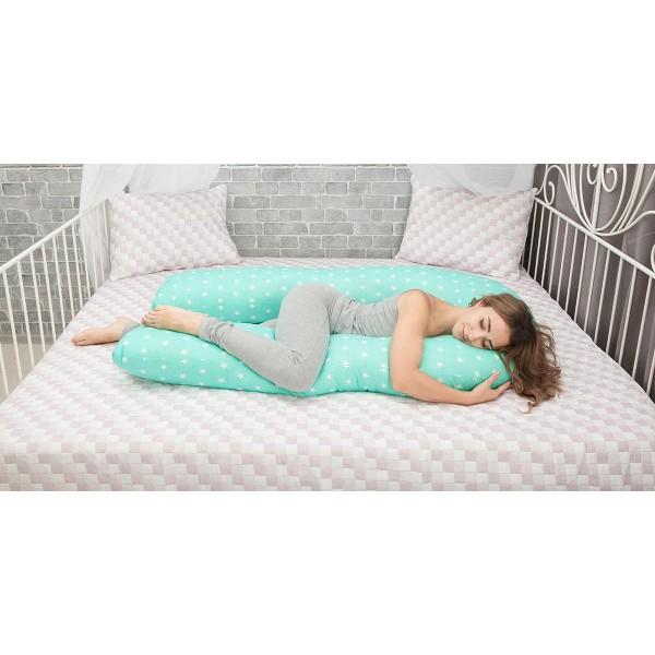 Подушка для беременных большая мятная со звездами (350 см)