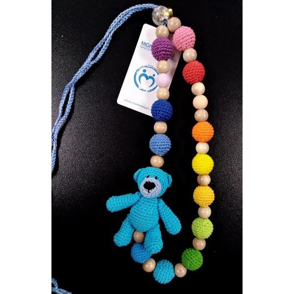 """Слингобусы """"Радужные с голубым медведем"""" со звенящей игрушкой и силиконовыми бусинами"""