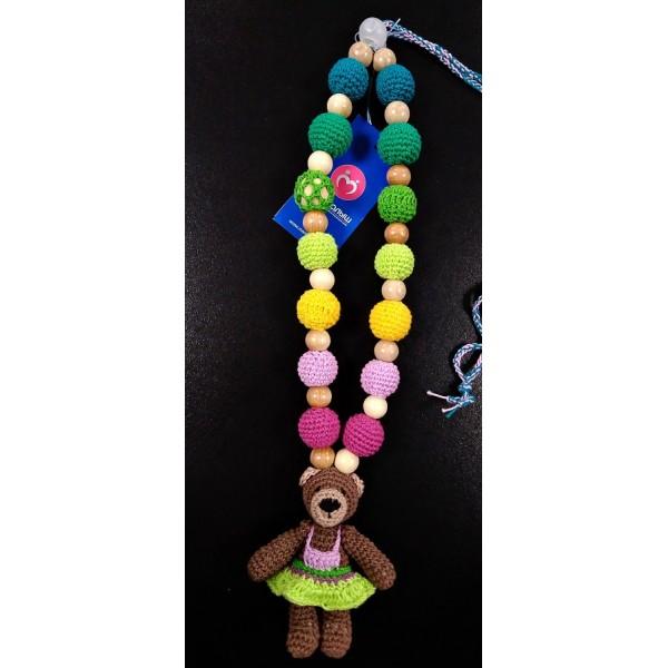 """Слингобусы (грызунок с рождения) со звенящей игрушкой """"Медведица в зеленом платье"""""""