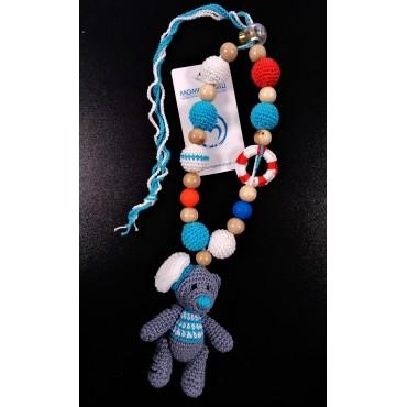 """Слингобусы """"Морские с мишкой"""" со звенящей игрушкой и силиконовыми бусинами"""