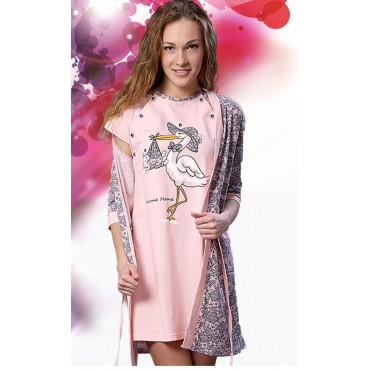 """Комплект """"1301"""" розовый (халат+сорочка) для беременных и кормящих"""
