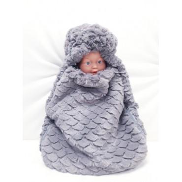 Вкладыш в конверт для новорожденного меховой серый
