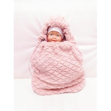 Вкладыш в конверт для новорожденного меховой розовый