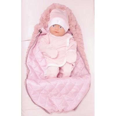 Вкладыш в конверт для новорожденного на выписку и для прогулок Принц меховой розовый