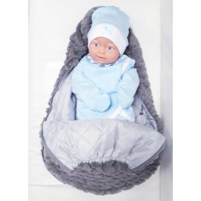 Вкладыш в конверт для новорожденного на выписку и для прогулок Принц меховой серый