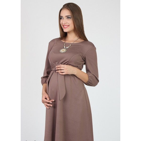 """Платье """"5045"""" бежевое для беременных и кормящих"""