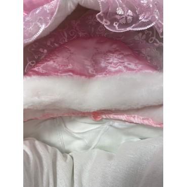 """Конверт на выписку зимний """"273"""" розовый с комплектом нательной одежды"""