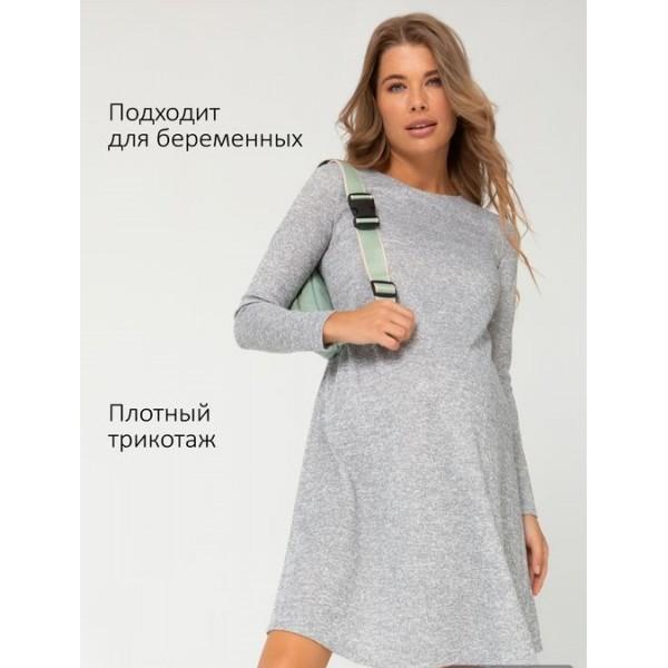 """Теплое платье для беременных """"111064"""" серое"""
