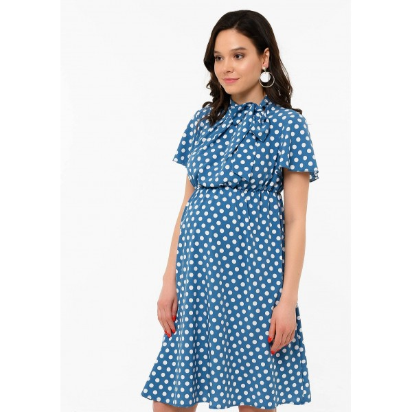 Летнее платье для беременных синее в горох