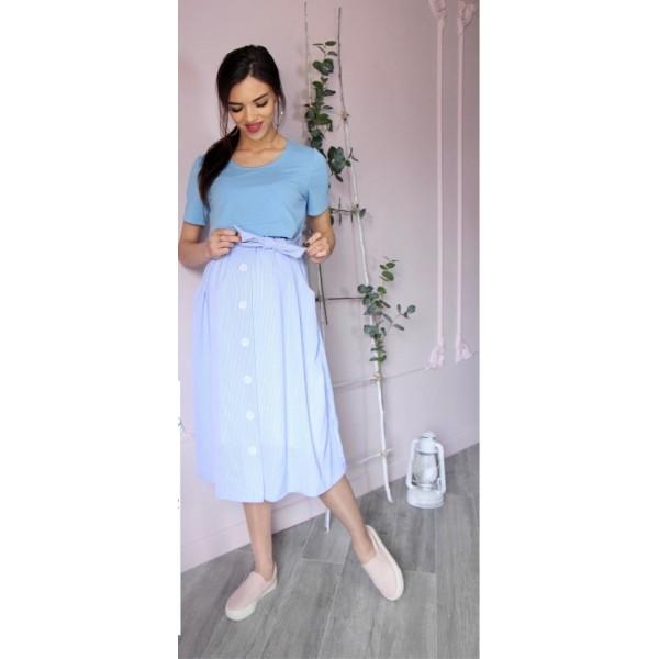 Летнее платье для беременных голубое/полоска