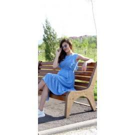 Летнее платье для беременных голубое/горох
