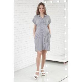 Платье-рубашка для беременных в черную полоску