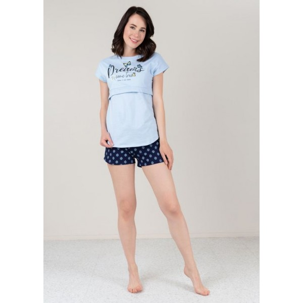 Пижама для беременных и кормящих с шортами