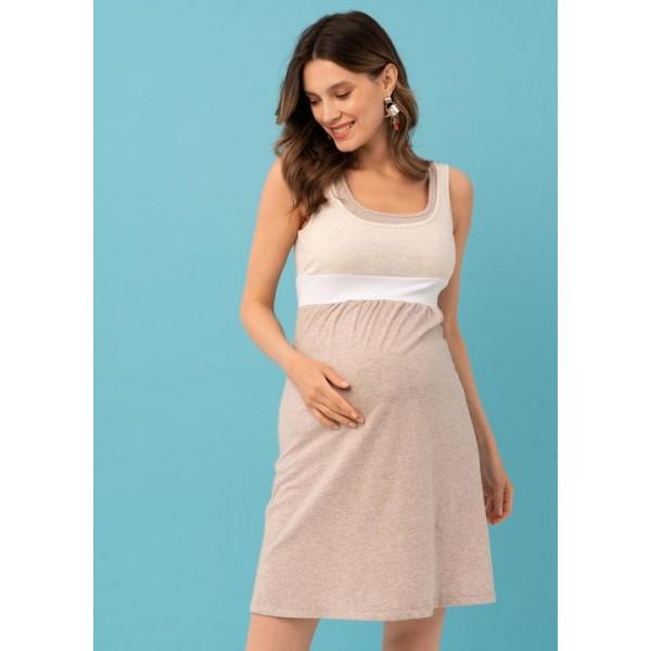 Летнее платье для беременных бежевое