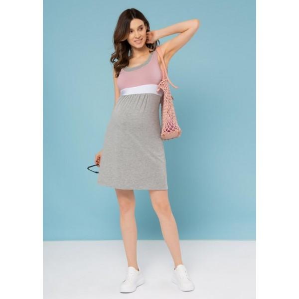Летнее платье для беременных пудра
