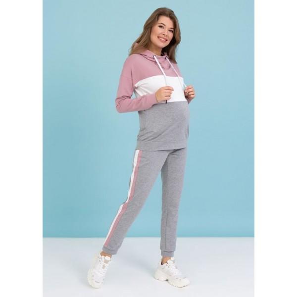 Спортивный костюм для беременных пудра триколор
