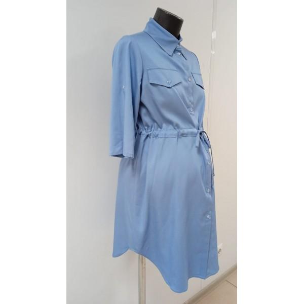 Легкое летнее платье-рубашка для беременных деним