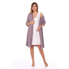 Комплект халат и сорочка для беременных и кормящих коричневый