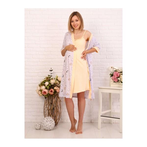 Комплект Халат и сорочка в роддом для беременных и кормящих полоска