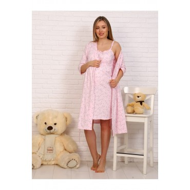 Комплект Халат и сорочка в роддом для беременных и кормящих розовый