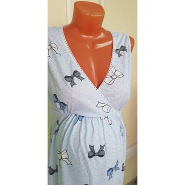 Комплект халат и сорочка для беременных и кормящих синий