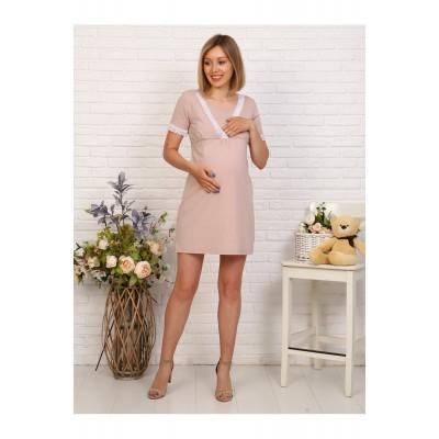 Сорочка в роддом для беременных и кормящих бежевая