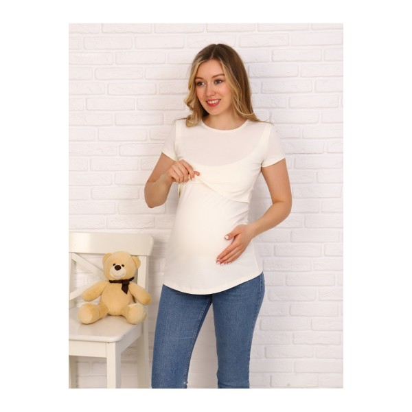 Футболка для кормящих и беременных молочная