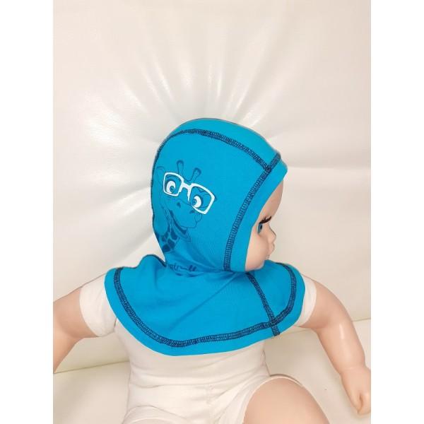 """Шапка-шлем  0-1 г детский """"Бирюза с жирафом"""""""