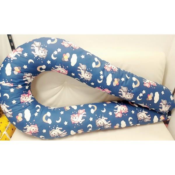 Синяя/единороги Большая подушка для беременных