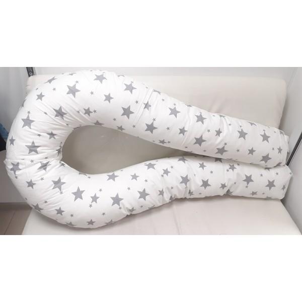 Белая/серые/звезды Большая подушка для беременных