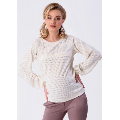 Джемпер для беременных и кормящих 55188 молочный