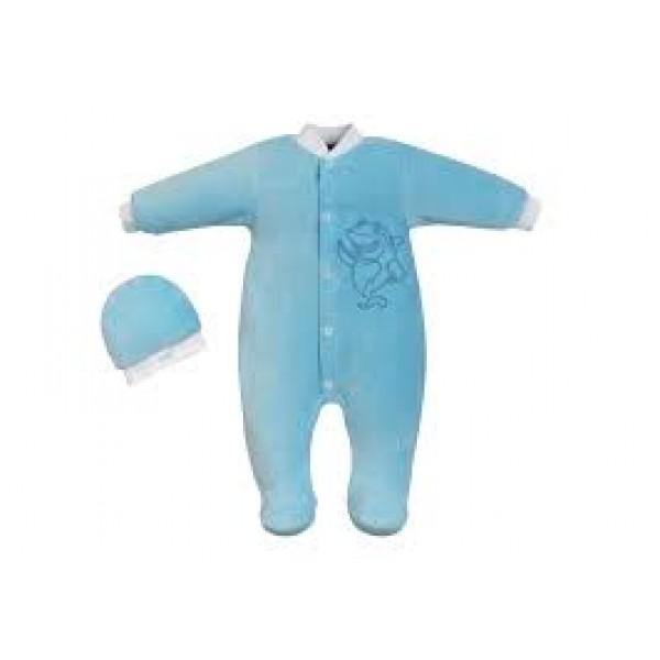 Комбинезон для новорожденного и шапочка голубой