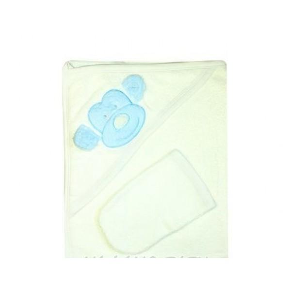 """Полотенце для новорожденных с варежкой """"0029"""" белое/голубой рисунок"""