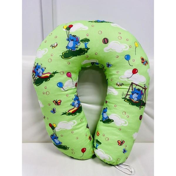"""Подушка для кормления """"Подкова"""" U-170 зеленая/игрушки"""