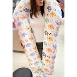 """Подушка для беременных большая """"Макси"""" U-350 белая/слоники"""