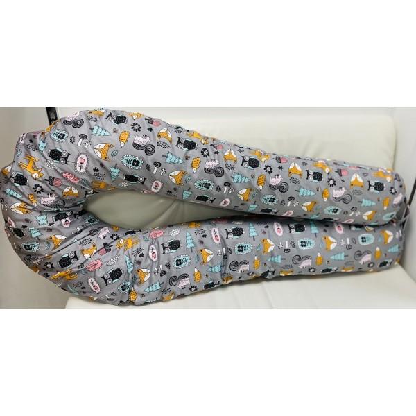 """Подушка для беременных большая """"Макси"""" U-350 серая/зверята"""