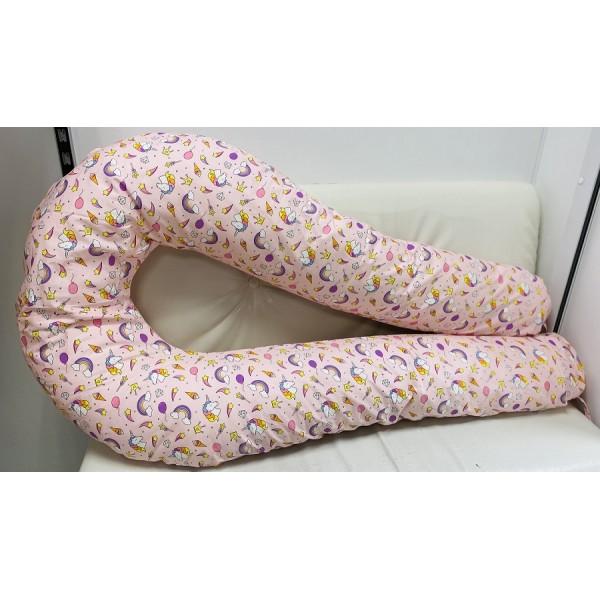 """Подушка для беременных большая """"Макси"""" U-350 розовая/единороги"""