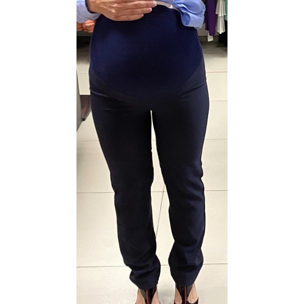 Брюки-дудочки для беременых темно-синие