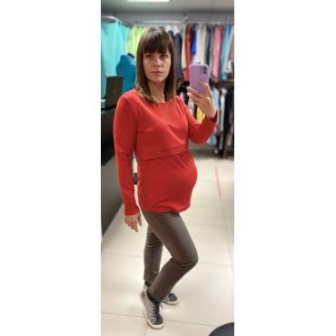 """Джемпер для беременных """"4040"""" красный"""