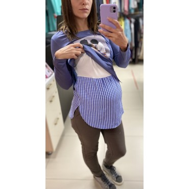 """Туника для беременных и кормящих """"4047"""" голубая\принт"""